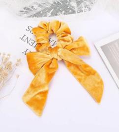 Scrunchie fluweel met strik geel
