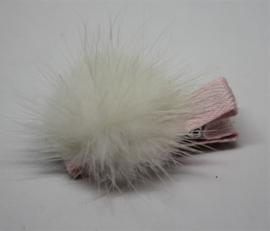 Clip mini met pompom offwhite/roze