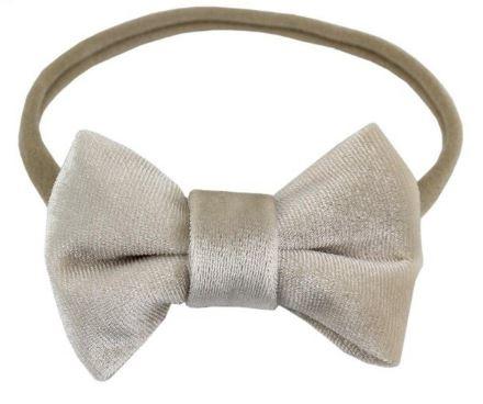 Haarband met strik Jet fluweel creme