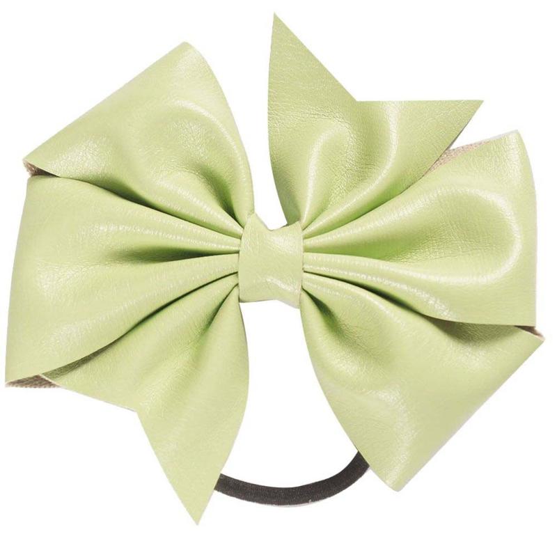 Strik leer op elastiek groen