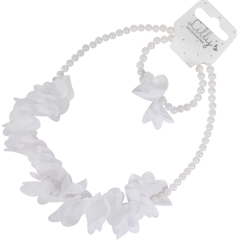 Kindersetje ketting met armband parel en bloem wit