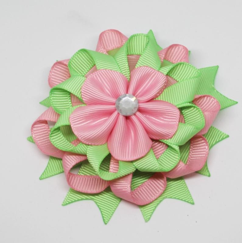 Haarclip flower mintgroen/roze