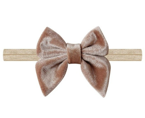 Haarband strik fluweel khaki / bruin