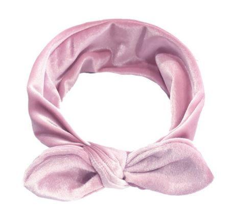 Knoophaarband fluweel oud roze
