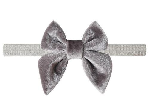 Haarband strik fluweel grijs
