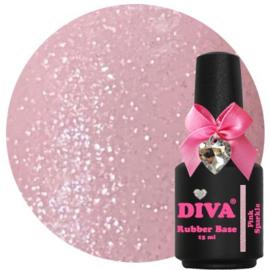Diva Gellak Rubber Basecoat Pink Sparkle 15 ml