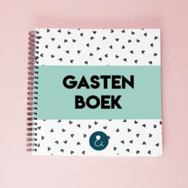 Gastenboek voor je bruiloft - mint (liggende foto's)