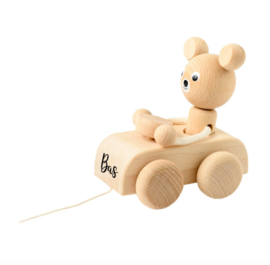 WOODEN BEAR IN CAR