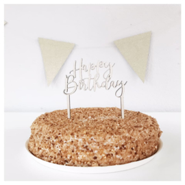 TAARTTOPPER VAN HOUT | HAPPY BIRTHDAY