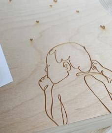 MEMORYBOX KLEPDEKSEL | GEGRAVEERD MET LIJNTEKENING BABY