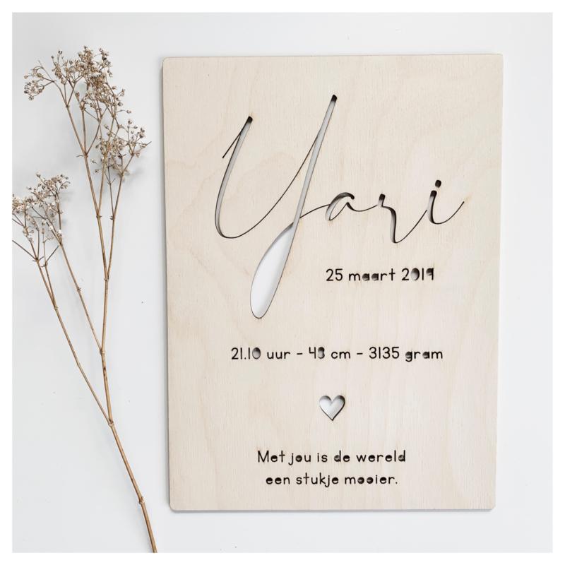 "HOUTEN GEBOORTEBORD | ""YARI"""