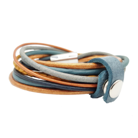 Leather Wrap Ocre Vintage Blue