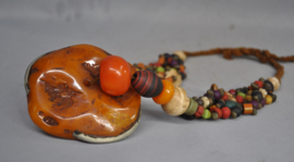 Tribal necklace with huge amber,NAGA land,Nrth India,late 20th century