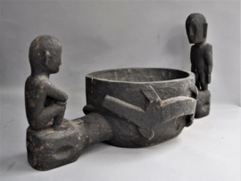 Big, ritual bowl of with two BULULS,Ifugao,Luzon,2nd half 20th century