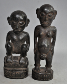 Two DAYAK statues, Borneo, 2nd half 20th century
