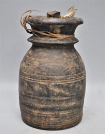 Older wooden storage jar for yak butter, Nepal, 2nd half of the 20th century