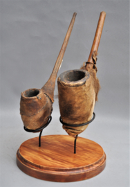 2 old tribal pipes, MOBA people, Northern Togo, mid-20th century