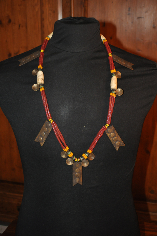 Stylish, ethnic necklace with bronzes, glass and shell beads; NAGA