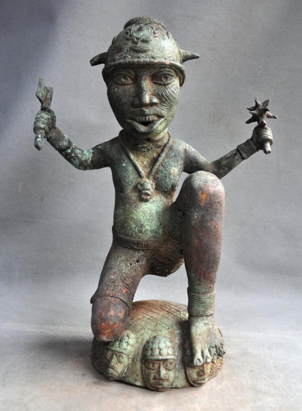 Aged, bronze warrior, Benin, Benin City, 3rd quarter 20th century