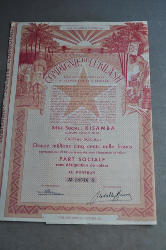 """Aandeel uit de Congo, """"COMPAGNIE DU LUBILASH""""  (Code 1)"""
