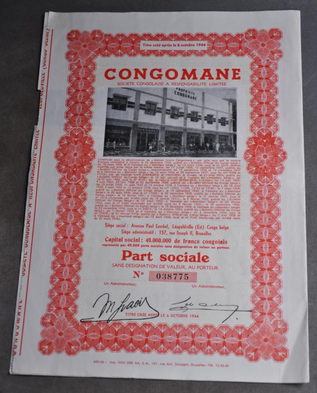 """Aandeel uit de Congo """"CONGOMANE"""", met coupons ( code 2)"""