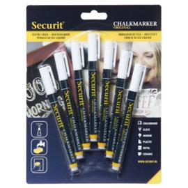 Krijtstift wit set 7 stuks (7xSmall 1-2mm) - Securit liquid chalkmarker white