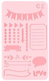 Bullet Journaling / Handlettering Sjabloon - Vlaggetjes, banners, love - C2