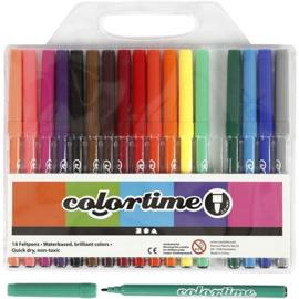 Stiften Colortime - Lijndikte: 2 mm - Diverse mooie kleuren -           18 stuks