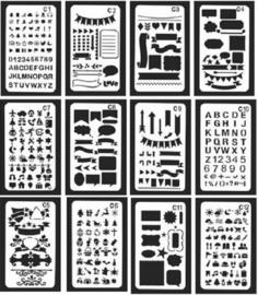 Bullet Journaling / Handlettering Sjabloon - 12 verschillende sjablonen (C1-C12)