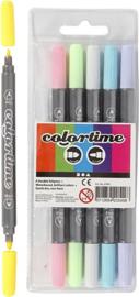 Dubbelstiften Colortime - Lijndikte: 2,3+3,6 mm - Pastel kleuren - 6 stuks