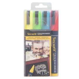Krijtstift geel, rood, groen, blauw set 4 stuks (4xMedium 2-6mm) - Securit liquid chalkmarker color