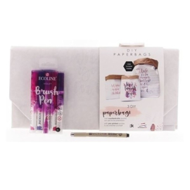 DIY pakket Brush lettering / Handlettering paperbags - Violet Paars
