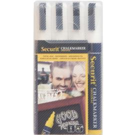 Krijtstift wit set 4 stuks (4xMedium 2-6mm) - Securit liquid chalkmarker white