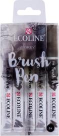 Brush pen Ecoline set - Kleuren Grijs - 5 stuks