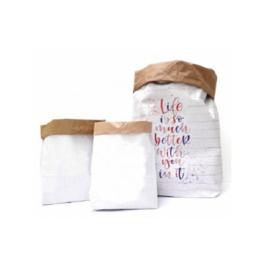 Papieren opbergzak (paperbag) S,M,L kraft wit - 3 stuks