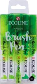Brush pen Ecoline set - Kleuren Groen - 5 stuks