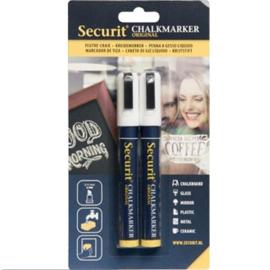 Krijtstift wit set 2 stuks (2xMedium 2-6mm) - Securit liquid chalkmarker white