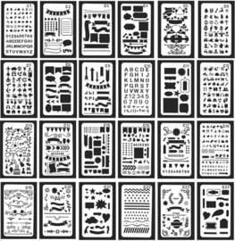 Bullet Journaling / Handlettering Sjabloon -  keuze C1-C24 - 1 stuk