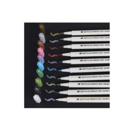 Krijtstift met kwastje - Brush stiften - 1-2mm - metallic kleuren 10 stuks