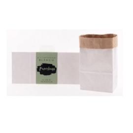 Papieren opbergzak (paperbag) 23x10.5x6.5 cm kraft wit - 6 stuks