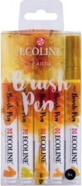 Brush pen Ecoline set - Kleuren Earth - 5 stuks