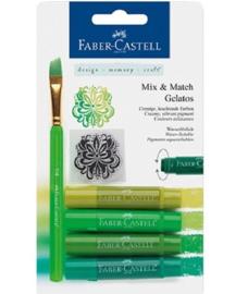 Faber Castell Gelatos - Pigment Sticks - Groen 4 st.