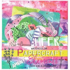 Papercraft elements watercolor voor journaling - ByKris