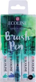 Brush pen Ecoline set - Kleuren Green Blue - 5 stuks