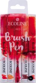 Brush pen Ecoline set - Kleuren Rood - 5 stuks