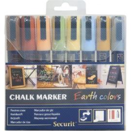 Krijtstift kleur aardetinten set 8 stuks (8xMedium 2-6mm) - Securit liquid chalkmarker earthtone