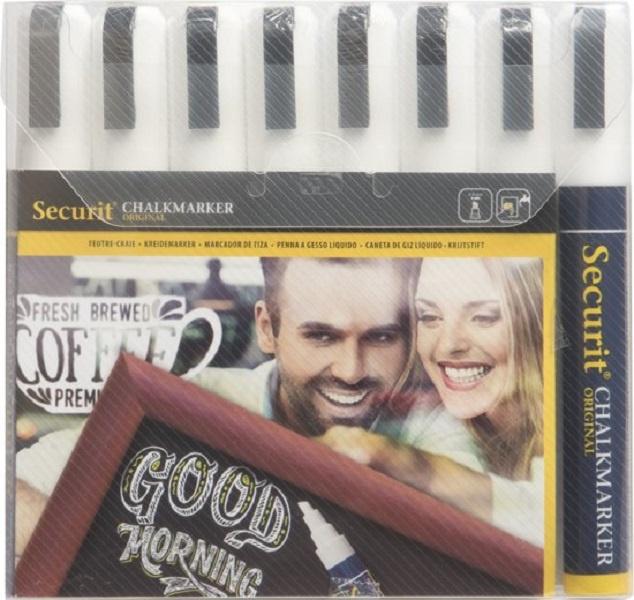 Krijtstift wit set 8 stuks (8xMedium 2-6mm) - Securit liquid chalkmarker white