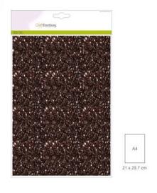 1 vel bruin   Glitterpapier  29x21cm 120gr