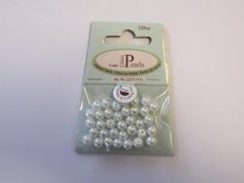 Glas parels rond 6mm wit zak 35 ST