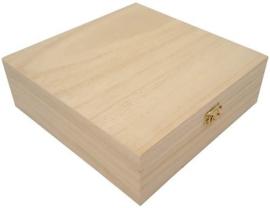 Houten kist vierkant 20,9cm x 20,9cm x 7cm  paulownia